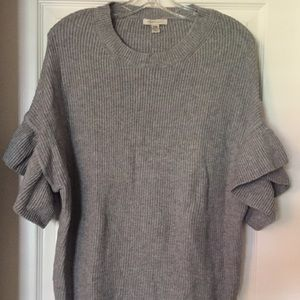 Cozy Casual Grey Ruffle Sleeve Relaxed Sweated S/M